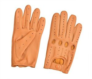 Men's Real Leather Driving Gloves Chauffeur Riding Motorcycle Biker Full Finger