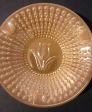 "Fire King Peach Lustre Tulip Ashtray Anchor Hocking 4 1/4"" Round Hobnail Luster"