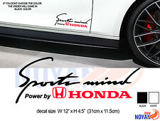 "sports mind, power by Honda, RACING STICKER 12.5"""