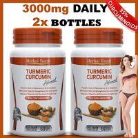 2 x BOTTLES TURMERIC CURCUMIN PILLS 95% CURCUMINOID TUMERIC CAPSULES ANTIOXIDANT