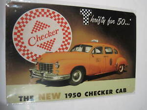 REF 030 Cartel Placa Metal 20X30CM 150gr - checker cab taxi 1950 cochesaescala