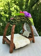 Miniature Dollhouse FAIRY GARDEN Furniture ~ Mini Flower Canopy Bed with Tulle