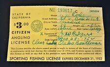 Vintage 1952 California State Citizen Fishing Angling License Paper