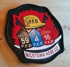 Fire Department Nicetown 3D routed carved wood patch plaque EMS sign Custom