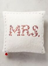 NWT Anthropologie MERRY SENTIMENTS PILLOW Embroidered Wool MRS