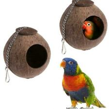 New Natural Coconut Shell Bird Nest House Hut Cage Pet Parakeet Parrot C5R8
