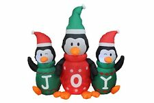Christmas Air Blown LED Inflatable Yard Garden Decoration Penguin Family JOY Jar