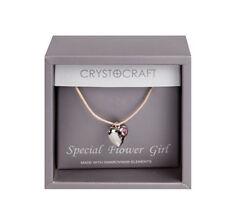Demoiselle D'Honneur Argent Collier Coeur Swarovski Cristal Rose Cadeau Bijoux