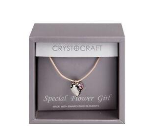 Flower Girl Silver Heart Necklace Swarovski Pink Crystal Jewellery Gift