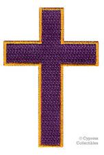 PURPLE GOLD CROSS iron-on PATCH embroidered CHRISTIAN BIKER EMBLEM CRUCIFIX