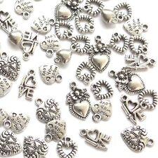Assortiment de 100 Tibétain Argent Amour Coeur Charms 8-18 mm Choix 6 Designs