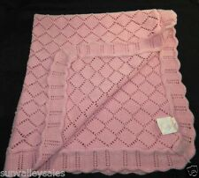 Babies Alley Pink Knit Crochet Baby Blanket 100% Cotton