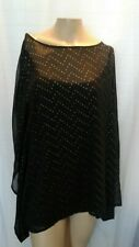 NWT Beverly Drive Womens Plus 2X Black Short Sleeve Cover Up Shirt Gold Details
