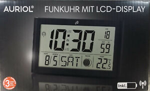 digitale LCD- Funkwanduhr von Auriol, Modell 4- LD5541- 1 schwarz, neu & OVP