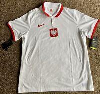 Nike Poland 2020 Stadium Home Soccer/futbol Jersey, Size XL, White, NWT