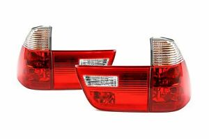 BMW X5 E53 00-06 Clear Red Rear Tail Lights Lamps Set Pair Driver Passenger