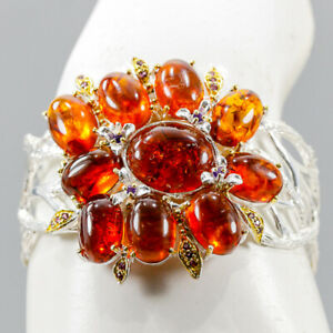 """Jewelry One of a kind Amber Bangle 925 Sterling Silver  Inches 2.25""""/BA02204"""