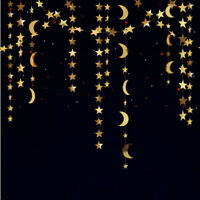 Gold Star Moon Garland Kit Hanging Banner for Twinkle Little Star Theme Party