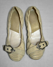 B6 Auth DIOR Ivory Python Embossed Leather Buckle Strap Ballet Flat Shoes Sz 37