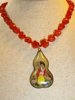 Vintage Chinese Reverse Painted 2 Sided Celadon Jade Carnelian Pendant Necklace
