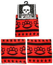 84001 Set of 2 Black Brass Knuckles & Stars on Red Sweat Wrist Bands Punk Rock