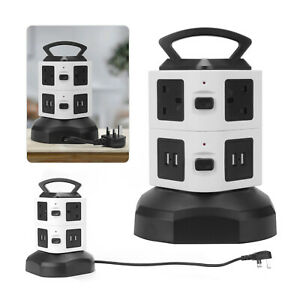 2 Layer 6 Way 4 USB Port Tower Power Strip Surge Protector Socket Extension Lead