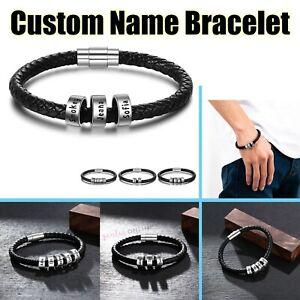 Personalised Family Custom Names Men Fashion Jewellery Magnetic Black Bracelet