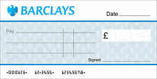 Large BLANK BARCLAYS BANK Cheque for Charity / Presentation
