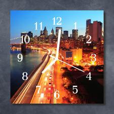 Glass Wall Clock Kitchen Clocks 30x30 cm silent Skyline Orange