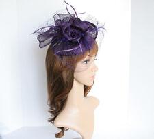 NEW Church Derby Wedding Sinamay w Feather & Veil Fascinator Purple VF651