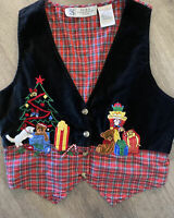 Studio Collection Ugly Christmas Sweater Vest P M Black Embroidered Womens