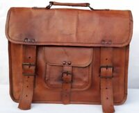 Briefcase Men's Genuine Vintage Leather Messenger Laptop Satchel Women Bag Brown