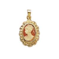 Pendentif Camée Rouge En Plaqué Or 18 Carats 750/1000 Bijoux Femme
