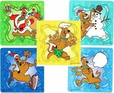 5 X Square Stickers Christmas Scooby Doo Cookies Snow Skate Skating Snow