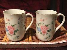 "2 Otagiri Japan Coffee Tea Cup, Multi-Floral Porcelain, Gold Rim 4 1/8""x3 7/8"""