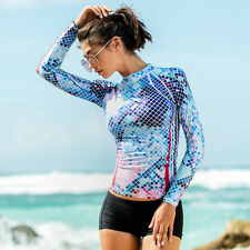Women Scuba Swimming Shirt UV Sun Protection Long Sleeve Rash Guards Lycra Top