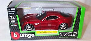 Alfa 8C Competizione Metallic Red  1:32 Scale Diecast  burago New in Box