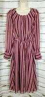 Boden Maroon Striped Print Midi Dress US 14 Womens Chiffon