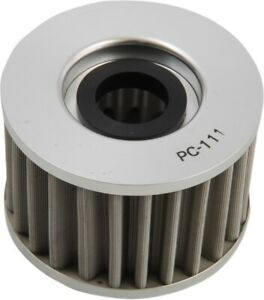 PC Racing FLO Drop In Stainless Steel Oil Filter, Polished Drop-In PC111 03-0091