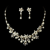 Gold Freshwater Pearl Rhinestone Flower Vine Design Bridal Necklace Jewelry Set