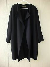DONNA KARAN CAR LENGTH COAT DRAPE WIDE LAPELS NAVY BLUE GABARDINE SIZE M - NWOT
