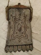 ABSOLUTLY CHARMING ANTIQUE ART DECO WHITING & DAVIS ENAMELED CHAIN MESH PURSE