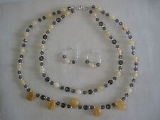 Sunny Yellow Jade Necklace & Earring Set