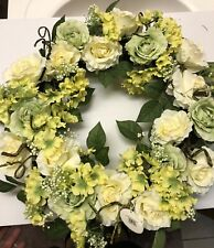 "24"" Cream Rose Wreath Artificial Plant Round Formation Doors Accent Decor"