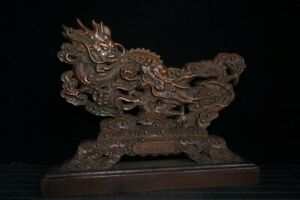 "9.9"" Collect China Box-wood HandCarved Two Dragon Propitious Cloud Statue Screen"