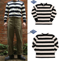 NON STOCK Men's Prison Striped Long Sleeve Tee Shirts Motorcycle Vintage T-Shirt