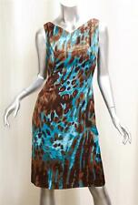 TULEH Brown and Blue Leopard Print Silk Shift Dress sz.4