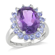Amour Sterling Silver Oval-cut Amethyst and Tanzanite Cocktail Halo Ring
