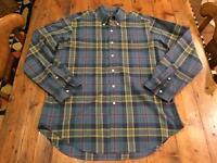 RALPH LAUREN Men's Blue & Green Plaid Classic Shirt- Size Large- Retails $95