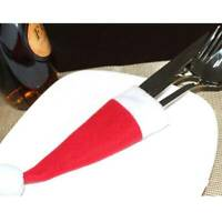 Cutter and Fork DIY Tableware Holder Santa Claus Cutlery Bag Red Christmas Hat Q